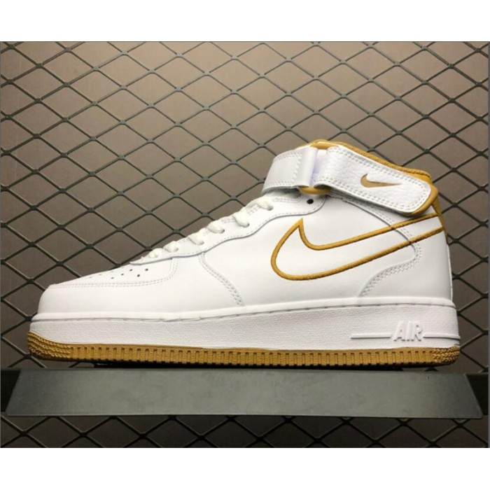 Men's/Women's Nike Air Force 1 Mid07 LTHR White Muted Bronze