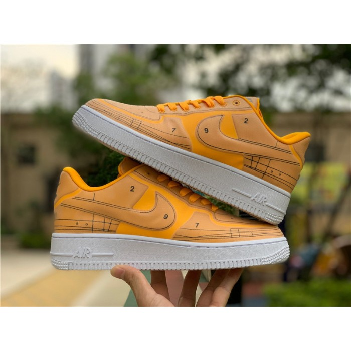 Men's/Women's Nike AF1 Air Force 1 07 LX Sketch Laser Orange White