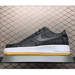 Men's/Women's Fragment x Clot x Nike Air Force 1 PRM Black Silk