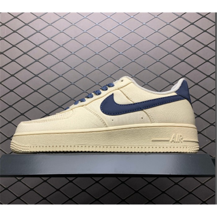 Men's/Women's Nike Air Force 1 07 Beige Deep Blue-Reflection