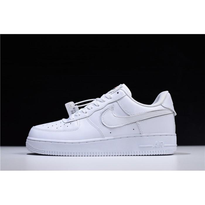 Men's/Women's Nike Air Force 1 07 QS Velcro Swoosh Pack White