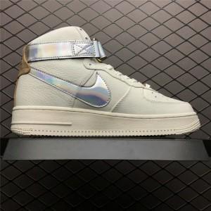 Men's/Women's Nike Air Force 1 High Nai Ke The Bund White Silver