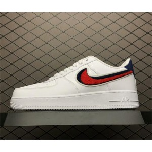 Men's/Women's Nike Air Force 1 Low 3D Chenille Swoosh White Red Blue