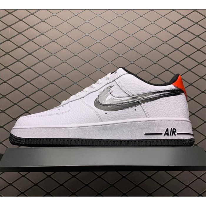 Men's/Women's Nike Air Force 1 Low Brushstroke Swoosh White Black