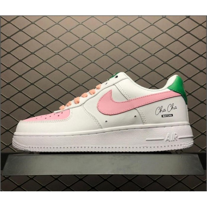 Women's Grade School Nike Air Force 1 GS Low Pink White-Green
