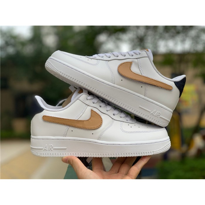 Men's/Women's Nike Air Force 1 Low White Obsidian-Vachetta