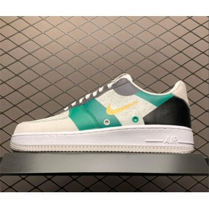 Men's Nike Air Force 1 White Green Black Tennis Shoes