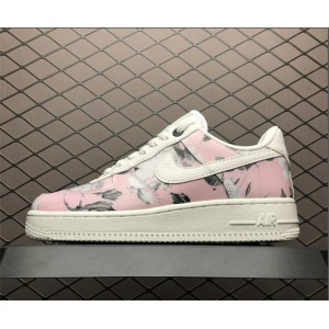 Women's Nike Air Force 1 Low Floral Rose Print White Pink