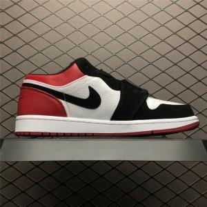 Men's Air Jordan 1 Low Black Toe Black and Red 553558-116
