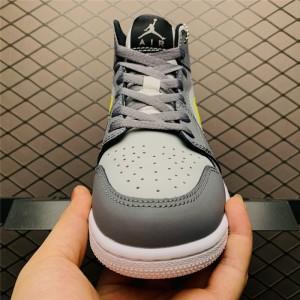 Men's/Women's Air Jordan 1 Mid Grey Volt 554724-072