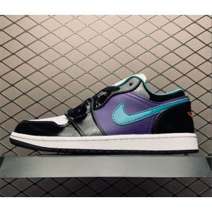Men's/Women's New Air Jordan 1 Low Black White Purple Shoes