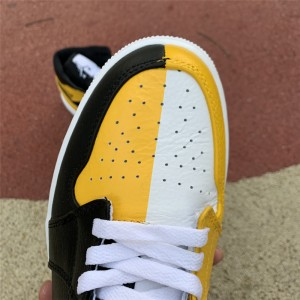 Men's/Women's Air Jordan 1 Mid Black White Yellow