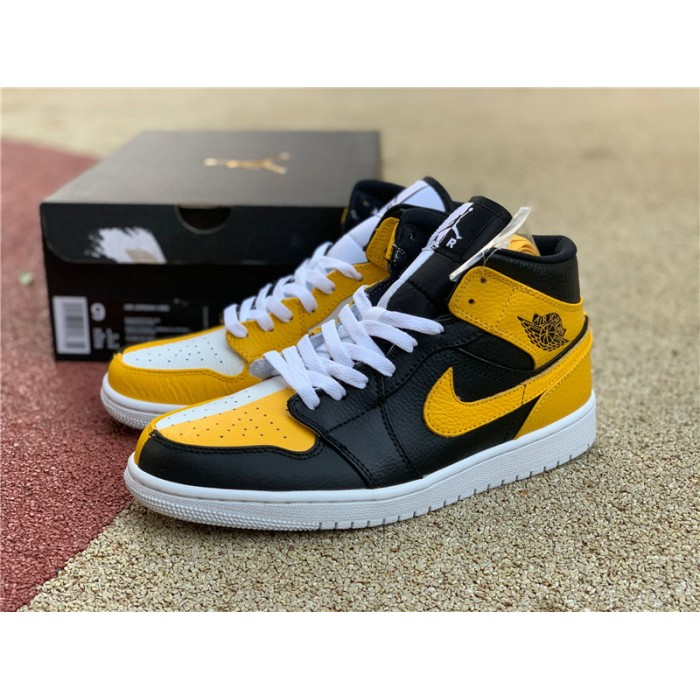 Men's/Women's Air Jordan 1 Mid Black White Yellow