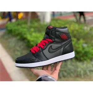 Men's/Women's Air Jordan 1 Retro High OG Satin Black Gym Red