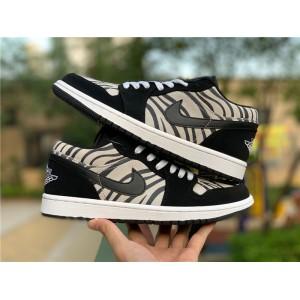 Men's/Women's Cheap Air Jordan 1 Low Zebra Black/White-Sail