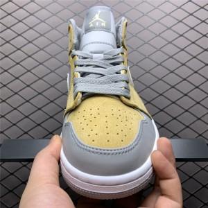 Men's/Women's Cheap Air Jordan 1 Mid Bone Grey