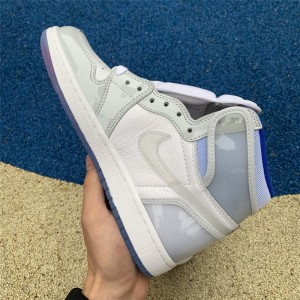 Men's/Women's New Air Jordan 1 High Zoom R2T White/Racer Blue