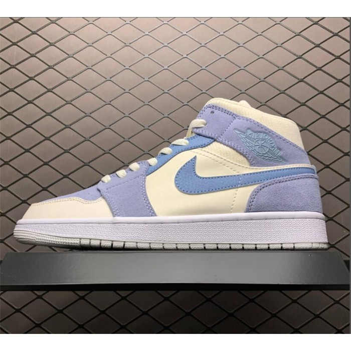 Men's/Women's 2021 New Air Jordan 1 Mid Grey Tan