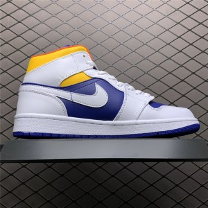 Men's/Women's 2021 Nike Jordan 1 Mid Royal Blue Laser Orange