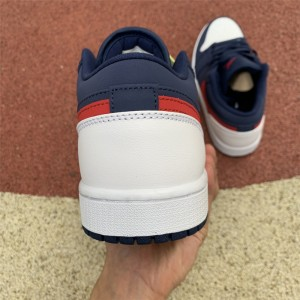 Men's/Women's Air Jordan 1 Low USA White/Blue/Gym Red