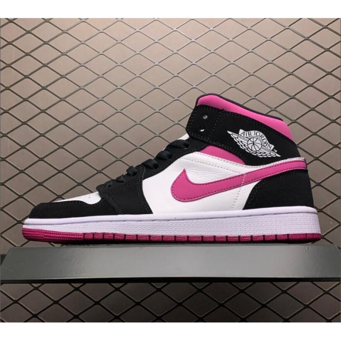 Women's Air Jordan 1 Mid Black/Pink-White