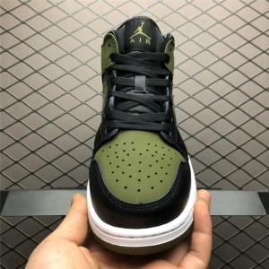 Women's Air Jordan 1 Mid Dark Olive Canvas/Black