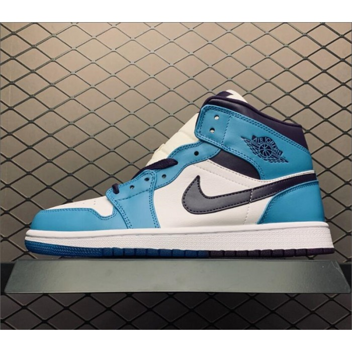 Men's/Women's Air Jordan 1 Mid Hornets Blue Purple White