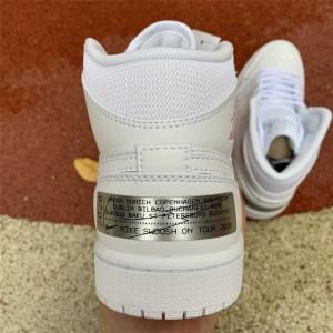 Men's/Women's Air Jordan 1 Mid London White/Red-Silver
