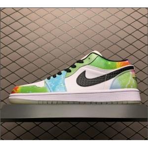 Men's/Women's Cheap Air Jordan 1 Low Galaxy White/Black/Lucky Green