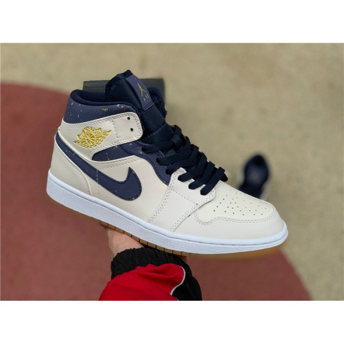 Men's/Women's Cheap Air Jordan 1 Mid Jeter Sail Bronze College Navy