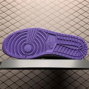 Men's/Women's Cheap Air Jordan 1 Mid Purple Black Suede Heels