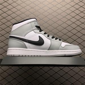 Men's/Women's Cheap Air Jordan 1 Mid Smoke Grey Black Shoes