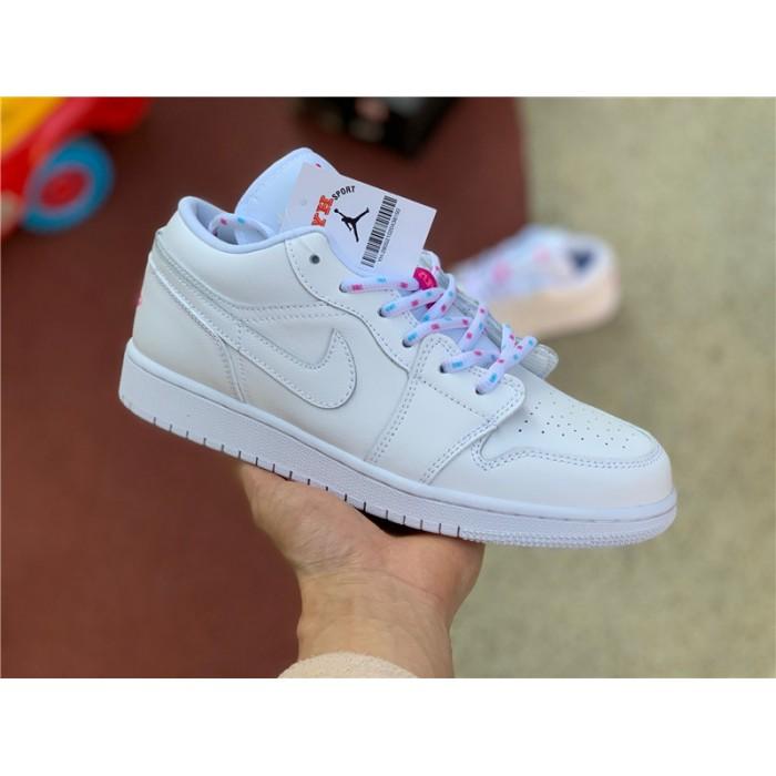 Women's Shoes Air Jordan 1 Low White/Pink-Blue