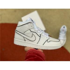 Men's/Women's Nike Air Jordan 1 Mid Iridescent Reflective White