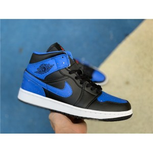 Men's Paint-Splattered Air Jordan 1 Mid Royal Black/White