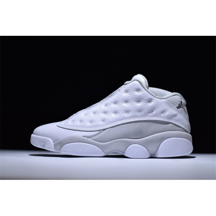 Men's Air Jordan 13 Low Pure Money White/Metallic Silver