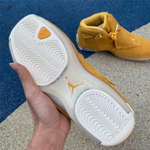 Men's 2018 Air Jordan 18 Retro Yellow Suede Yellow Ochre-Sail