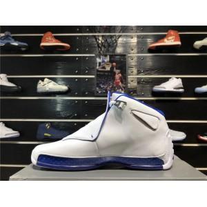 Men's New Air Jordan 18 Retro White/Sport Royal-Metallic Silver