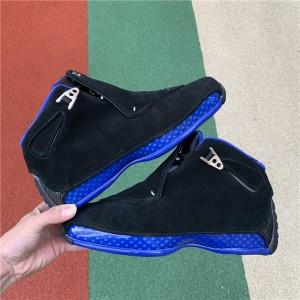 Men's Air Jordan 18 Retro Black Sport Royal Black/Metallic Silver
