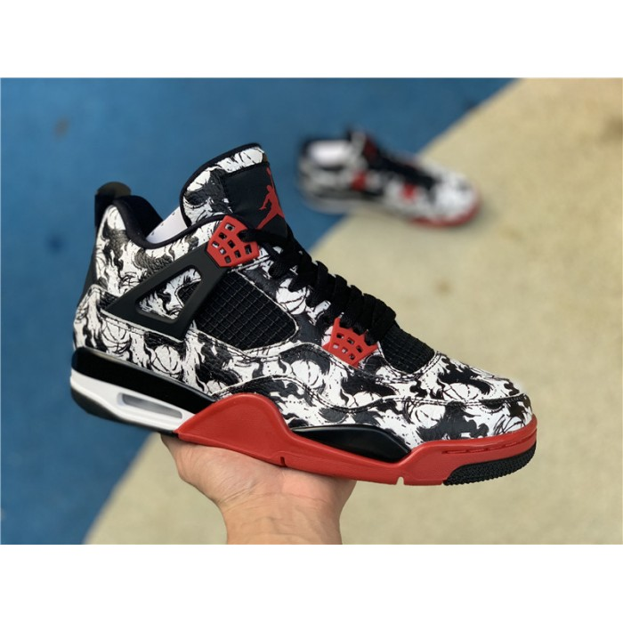 Men's Air Jordan 4 Tattoo Black Fire Red-Black-White