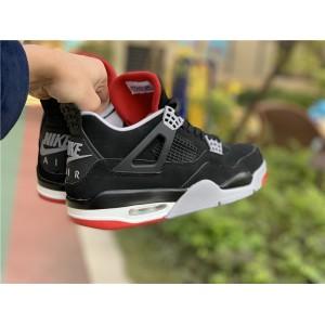 Men's/Women's Air Jordan 4 Bred Black Cement Grey-Summit White