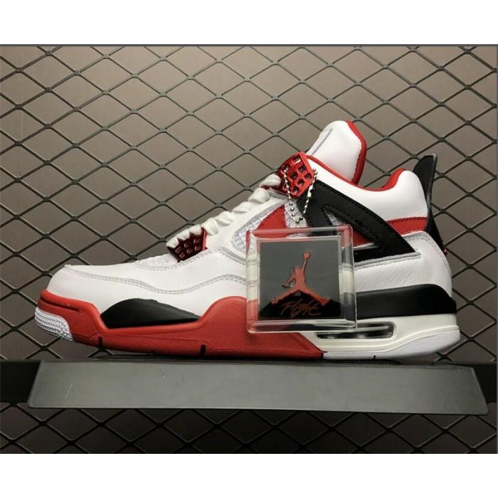 Men's Air Jordan 4 Retro Fire Red White Red-Black