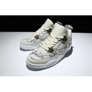 Men's Air Jordan 4 Premium Snakeskin Light Bone White-Pure