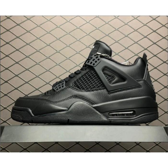 Men's Air Jordan 4 Retro Black Cat Black-Light Graphite