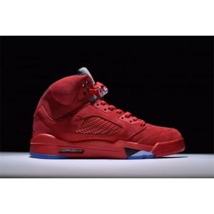 Men's/Women's Air Jordan 5 V Retro Red Suede Black-University Red