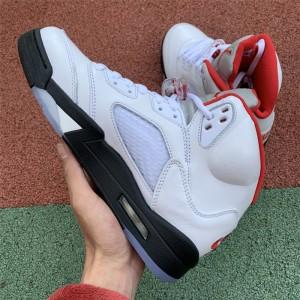 Men's Air Jordan 5 Retro Fire Red Silver Tongue