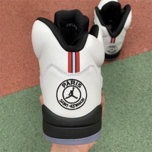 Men's Air Jordan 5 Paris PSG White Black-Challenge Red