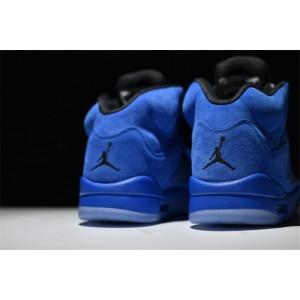 Men's Air Jordan 5 Retro Blue Suede Game Royal Game Royal-Black