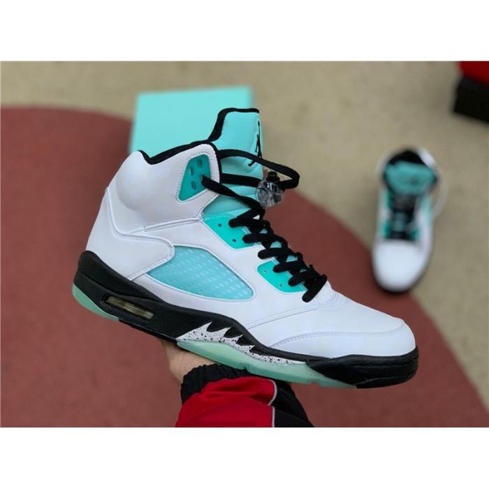 Men's/Women's Air Jordan 5 Island Green White Sneakers