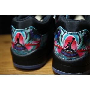 Men's/Women's Air Jordan 5 Low PRM QS China Black Bright Crimson-Hyper Jade